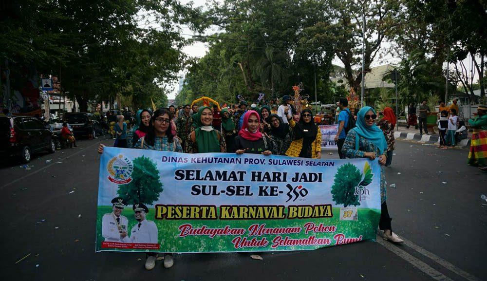 "Dinas Kehutanan Usung Tema "" Budayakan Menanam Pohon"" Pada Karnaval HUt Sulsel ke 350"